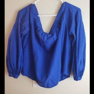 Anthropologie FLOREAT Blue Off Shoulder Blouse